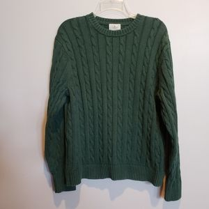 Unisex LL Bean dark green cableknit crew sweater